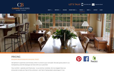 Screenshot of Pricing Page carmelbuilders.com - How Much Does a Remodel Cost - Carmel Builders - captured July 15, 2017