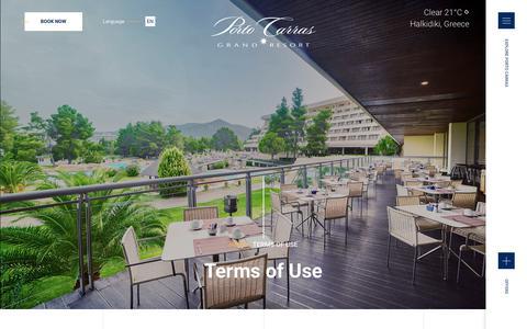 Screenshot of Terms Page portocarras.com - TERMS OF USE - Porto Carras - captured Sept. 22, 2018