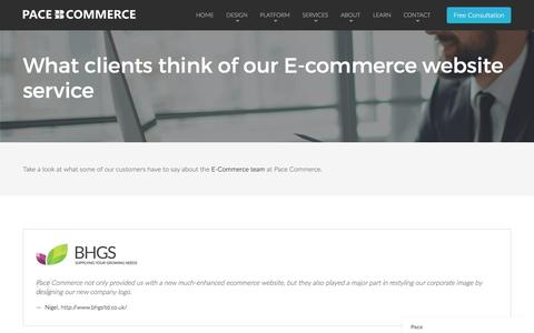 Screenshot of Testimonials Page pacecommerce.co.uk - Pace says... - captured Dec. 29, 2016