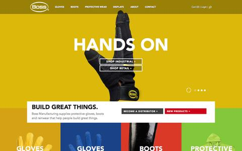 Screenshot of Home Page bossgloves.com - Boss | Protective Gloves, Boots and Rainwear. - captured Oct. 5, 2014