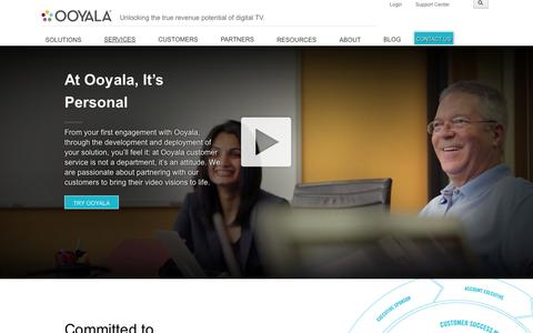 Screenshot of Services Page ooyala.com - At Ooyala, It's Personal - captured Sept. 17, 2014