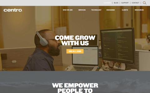 Screenshot of Jobs Page centro.net - Working at Centro | Centro - captured July 12, 2017