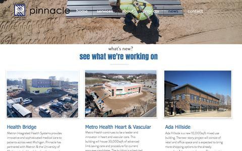 Screenshot of Press Page askourclients.com - Pinnacle Construction Group | news - captured Aug. 3, 2017