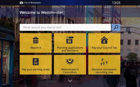 Screenshot of Home Page westminster.gov.uk - Welcome to Westminster | Westminster City Council - captured Oct. 23, 2015