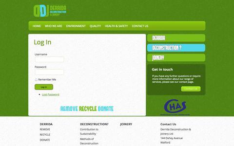 Screenshot of Login Page ddj.uk.com - Log In   Derrida Deconstruction & Joinery - captured Oct. 5, 2014