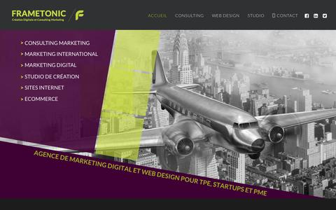 Screenshot of Home Page frametonic.com - Marketing Digital, Web Design et Consulting pour TPE PME | Frametonic - captured Aug. 17, 2018
