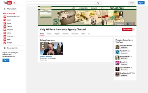 Screenshot of YouTube Page youtube.com - Kelly Williams Insurance Agency Channel  - YouTube - captured Oct. 23, 2014