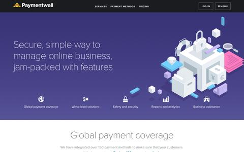 Screenshot of Services Page paymentwall.com - Services - Paymentwall - captured March 16, 2017