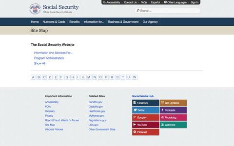 Screenshot of Site Map Page socialsecurity.gov - Site Map - captured Sept. 18, 2014