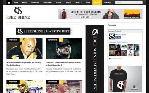 Screenshot of Blog thebeeshine.com - Underground Hip Hop Blog « TheBeeShine.com - captured Sept. 30, 2014