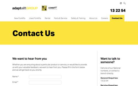 Screenshot of Contact Page aalhysterforklifts.com.au - Contact Us | Adaptalift Hyster - captured Sept. 23, 2018