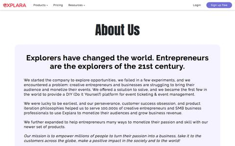 Screenshot of About Page explara.com - Empowering Millions Of People To Turn Their Passion Into A Business - captured Jan. 19, 2020