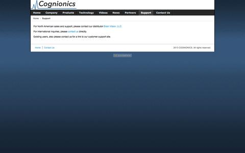 Screenshot of Support Page cognionics.com - Support - captured Sept. 26, 2014