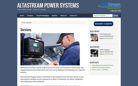 Screenshot of Services Page altastream.com - Services — AltaStream Power Systems - captured Oct. 4, 2014