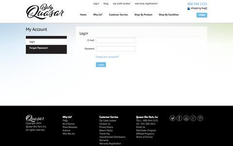 Screenshot of Login Page babyquasar.com - Baby Quasar - captured Oct. 3, 2014