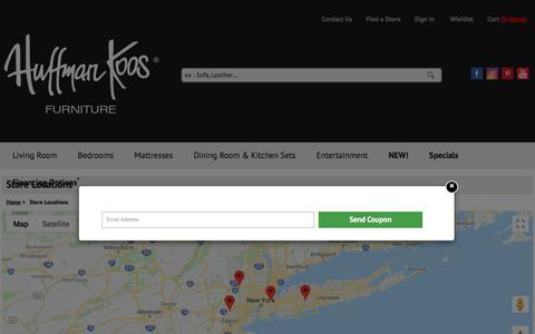Screenshot of Maps & Directions Page huffmankoos.com - Find a Home Furniture Store Near You - Huffman Koos Furniture - captured Oct. 6, 2019