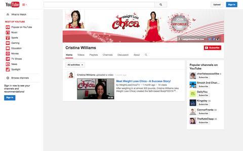 Screenshot of YouTube Page youtube.com - Cristina Williams  - YouTube - captured Oct. 26, 2014