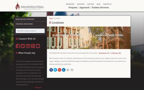Screenshot of Locations Page mansfieldhall.org - College Readiness Support Programs | Vermont & Wisconsin - captured Dec. 22, 2015