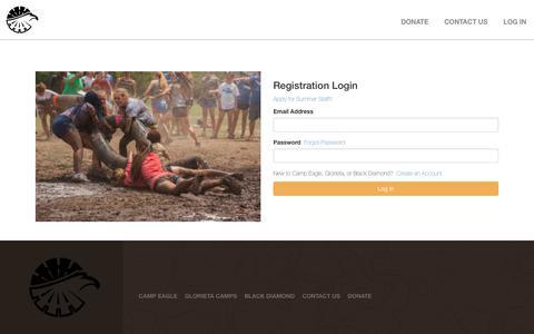 Screenshot of Login Page campeagle.org - Register - Camp Eagle - captured July 22, 2019