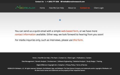 Screenshot of Contact Page biorealmresearch.com - Contact Us - BioRealm, LLC - captured Oct. 5, 2014