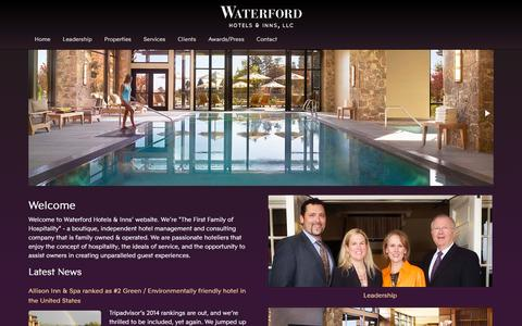 Screenshot of Home Page waterfordhi.com - Hotel Management Company | Waterford Hotels and Inns - captured Oct. 7, 2014