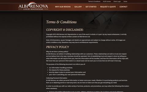 Screenshot of Terms Page albirenova.com - Terms & Conditions | ALBI RENOVA - captured Sept. 30, 2014