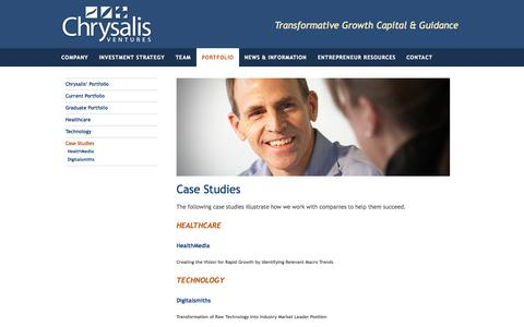 Screenshot of Case Studies Page chrysalisventures.com - Case Studies - Chrysalis Ventures - captured Sept. 29, 2014