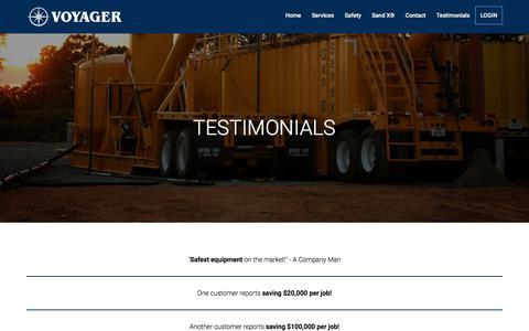 Screenshot of Testimonials Page voyagertx.com - Testimonials :: Voyager Energy Services - captured Oct. 25, 2017