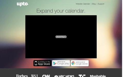 Screenshot of Home Page upto.com - UpTo - Calendar Redefined: Discover, Share, Embed   Android & iPhone App - captured Dec. 18, 2015
