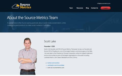 Screenshot of Team Page sourcemetrics.com - Source Metrics Team | Social Marketers | E-Commerce & Lead Generation - captured Sept. 23, 2014