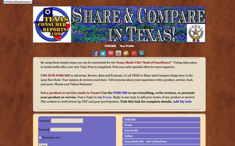 Screenshot of Home Page texasconsumerreports.com - Texas Consumer Reports-Honest Reviews-by Texans for Texans - - captured Oct. 7, 2014