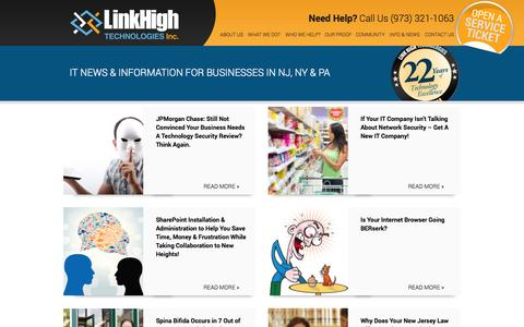 Screenshot of Blog linkhigh.com - IT News and Information For Businesses In NJ, NY and PA IT Support - captured Oct. 4, 2014