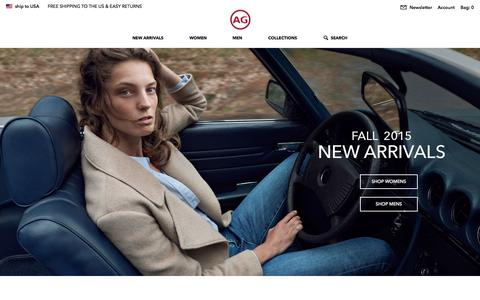 Screenshot of Home Page agjeans.com - Adriano Goldschmied | AG Jeans Official Store - captured Oct. 1, 2015