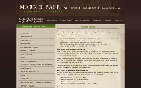 Screenshot of Privacy Page markbaeresq.com - Divorce Attorney in Pasadena | Privacy Policy | Pasadena Divorce Lawyer - captured Oct. 27, 2014