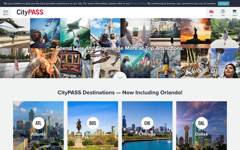 Screenshot of Home Page citypass.com - CityPASS® Official Site - Save up to 50% Off Top Tourist Attractions in Major Cities - captured July 14, 2019