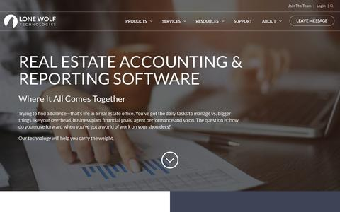 Screenshot of Products Page lwolf.com - Real Estate Accounting & Reporting Software | Lone Wolf Technologies - captured June 18, 2017