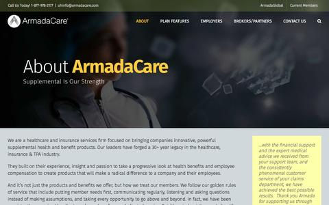 Screenshot of About Page armadacare.com - About ArmadaCare • Ultimate Health by ArmadaCare - captured May 30, 2017