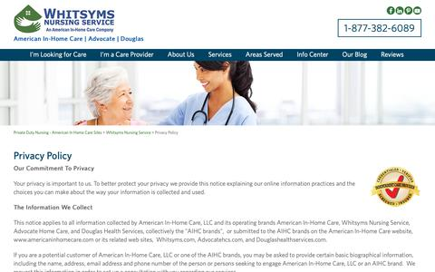 Screenshot of Privacy Page whitsyms.com - Private Home Healthcare Agencies, Live In Elderly Care - American In-Home Care - captured Oct. 20, 2018