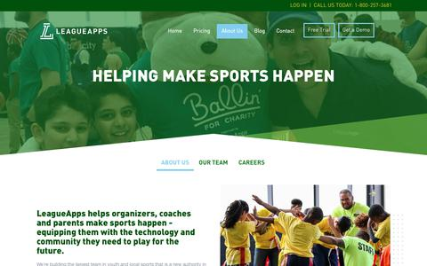 Screenshot of About Page leagueapps.com - HELPING MAKE SPORTS HAPPEN - LeagueApps - captured July 17, 2018