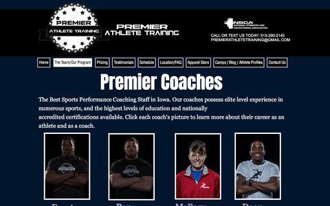 Screenshot of Team Page premierathletetraining.com - Premier Athlete Training - The Team - captured July 21, 2018