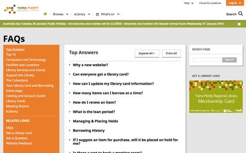 Screenshot of FAQ Page yprl.vic.gov.au - Frequently Asked Questions | YPRL - captured Jan. 22, 2016