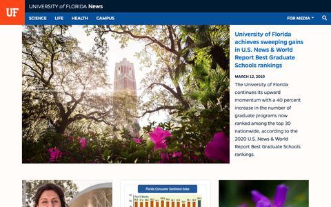 Screenshot of Press Page ufl.edu - news.ufl.edu - News - University of Florida - captured March 14, 2019