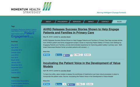 Screenshot of Blog momentumhealthstrategies.com - Momentum Health Strategies | Blog - captured Aug. 13, 2016