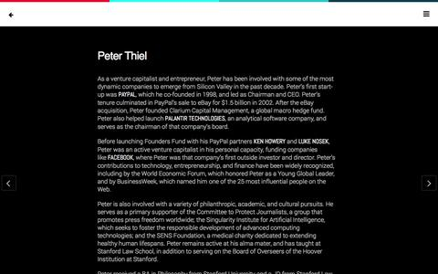 Screenshot of Team Page foundersfund.com - Peter Thiel | Founders Fund - captured Sept. 19, 2014