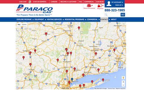 Screenshot of Locations Page paracogas.com - Paraco Gas Locations | Paraco Gas - captured Jan. 25, 2016