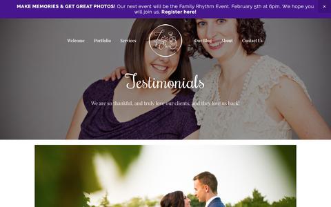 Screenshot of Testimonials Page lorianderin.com - Testimonials — Lori and Erin Photography - captured Feb. 1, 2016