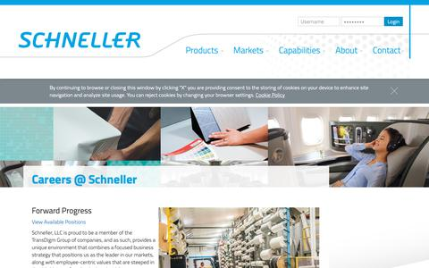 Screenshot of Jobs Page schneller.com - Careers at Schneller | Aircraft Interior Design Careers | Schneller - captured Oct. 2, 2018