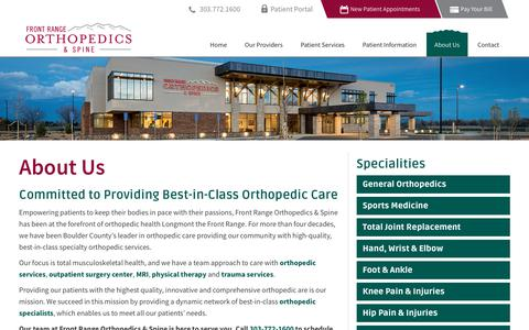 Screenshot of About Page frontrangeorthopedics.com - About Us - Front Range Orthopedics & Spine - Serving Longmont, Northern Colorado and Metro Denver - captured Oct. 14, 2017