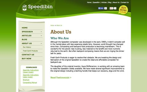 Screenshot of About Page speedibin.com - About Us - captured Sept. 30, 2014