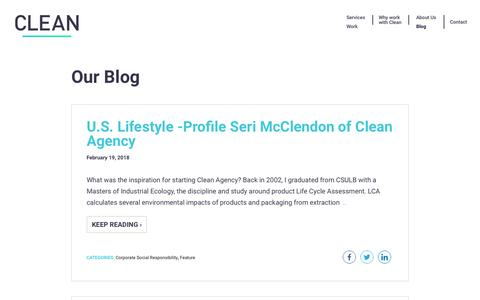Screenshot of Blog cleanagency.com - Clean Agency Sustainability Consulting Los Angeles: Blog - captured July 18, 2018
